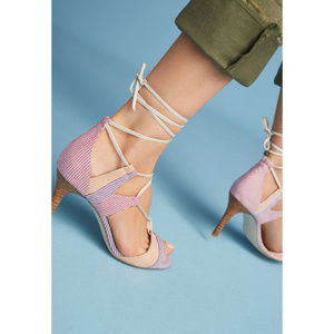 Anthropologie BILLY ELLA Striped Lace Up Heels
